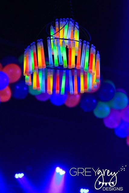Glow in the dark Chandelier! #glowinthedark #party | catchmyparty.com: Stick Chandelier, Glowstick, Glow Sticks, Sweet 16, Glow Party, Glow In The Dark, Party Ideas, Dark Party, Birthday Party