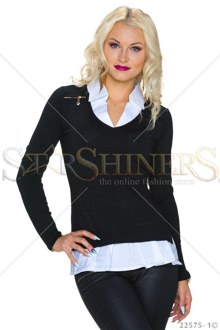 Office Cut Black Blouse