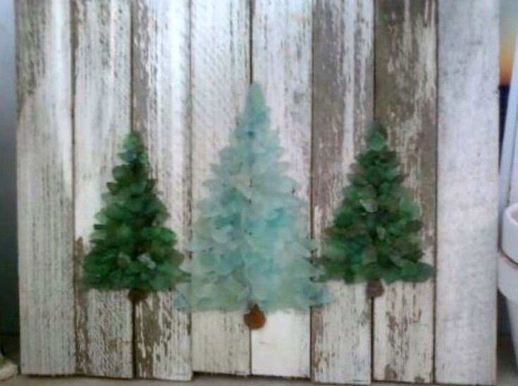 Beach glass christmas trees sea crafts projects