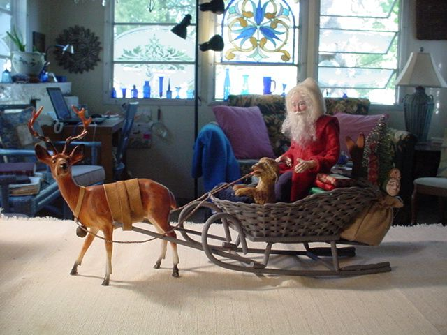 On eBay now, 6/8/16  Sleigh, Santa with dog riding.  Last sleigh I will do, retiring soon.  decamp   COME SEE