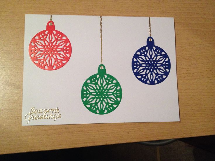 Christmas baubles card using a die cutting machine for baubles