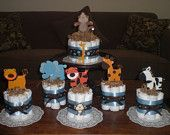 Safari Jungle and Monkey Diaper Cakes Baby Shower Centerpieces other colors and sizes too