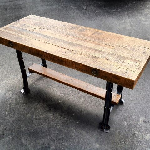 counter height tables casters | Reclaimed Oak Counter Height Table