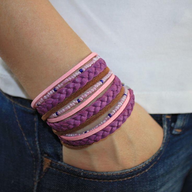 Womens Bracelet, Triple Wrap BOHO Bracelet with Braided Purple Leather, Beaded Bracelet , Bracelet For Women , Womens Purple Bracelet, Gift by JUNIPERANDELOISE on Etsy