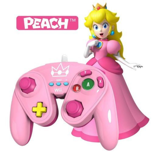 Color: Peach A classic controller pro for the Nintendo Wii U inspired by the original GameCube controller. Available as Mario, Yoshi, and Princess Peach. The Wired Fight Pad is virtually wireless as it plugs directly into the Wii Remote Connector Port. Players can use the Wired Fight Pad for Wii/Wii U games that support the classic controller, the classic controller pro, as well as Nintendo Virtual console games.