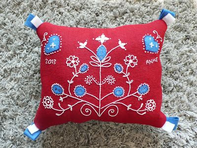 Embroidered cushion Swedish style