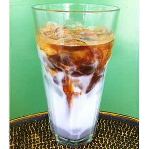 iced coconut milk latte (also available with soy or almond milks)