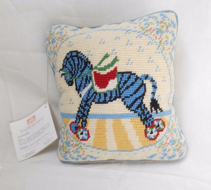 KATHA DIDDEL Home Collection Baby Nursery Needlepoint Rocking Horse Child Pillow