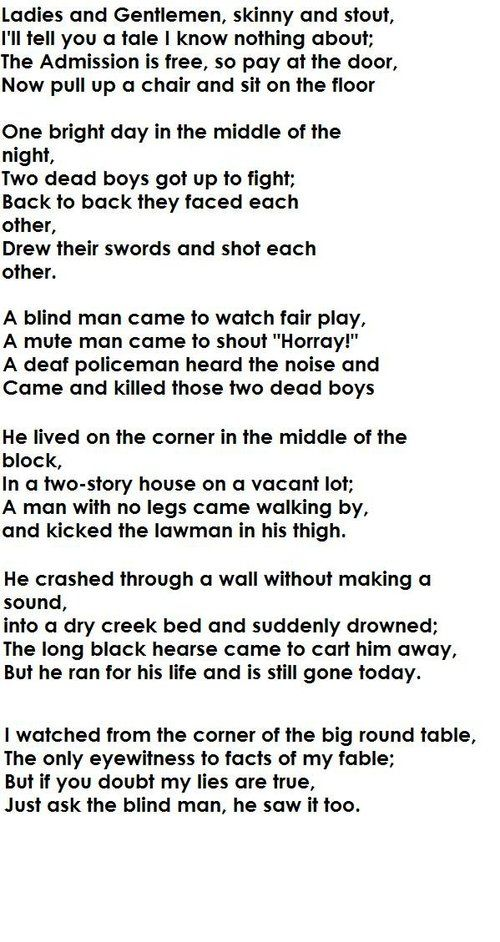 Two Dead Boys Got Up To Fight Poem. I don't know why I love that much.