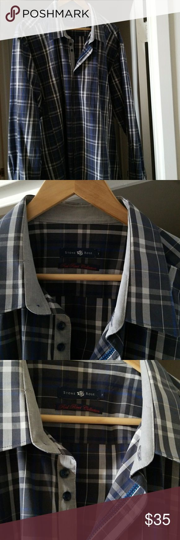 Stone Rose Men's Navy Plaid Knit Long Sleeve Shirt Great shirt for night out,  like new, worn 1-2 times. Nice detail, XL. Stone Rose Shirts Casual Button Down Shirts