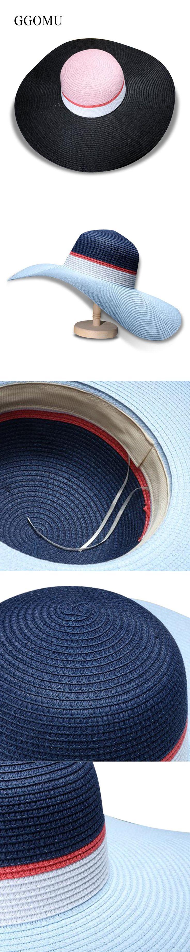 GGOMU New summer colorful sun hats for women Girl sweet big edge straw hat Beach vacation Sunscreen ladies hats ZLH-006
