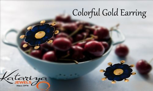 Floral Shape Gold Ear Ring with Stone in 22Kt  Buy Now :http://buff.ly/1VYd8Rn COD Option available With Free Shipping In India