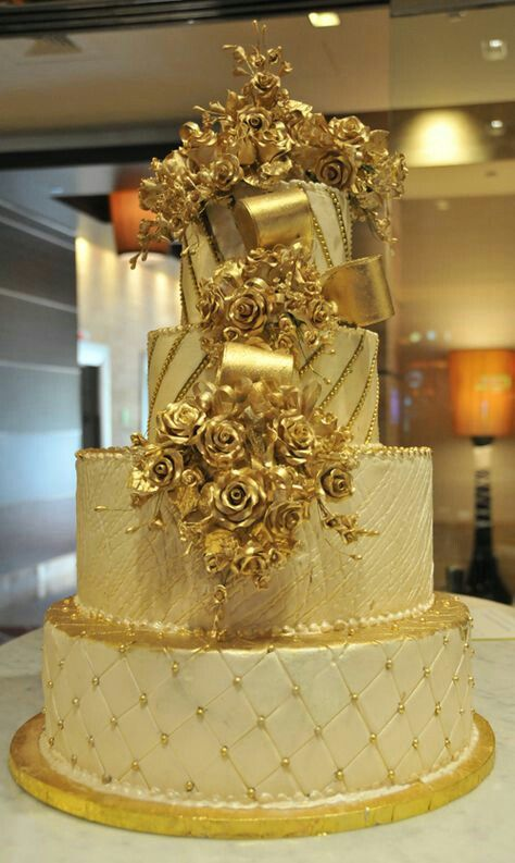 An enchanting gold cake