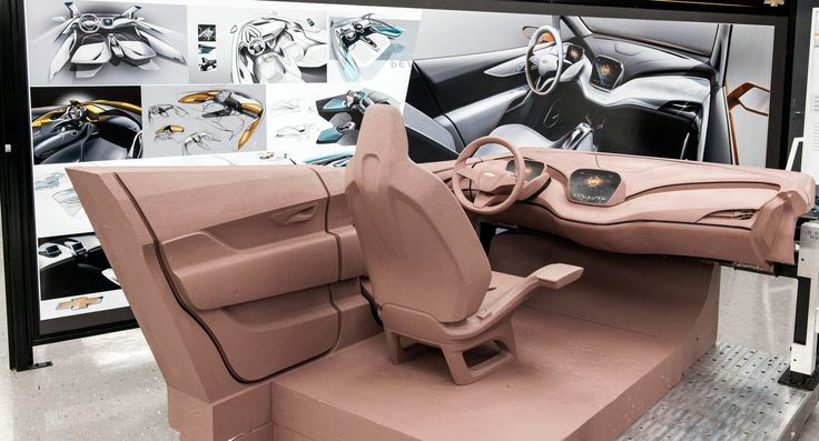 Chevrolet Bolt concept interior clay model surrounded by theme renders in GM's Australian studio.