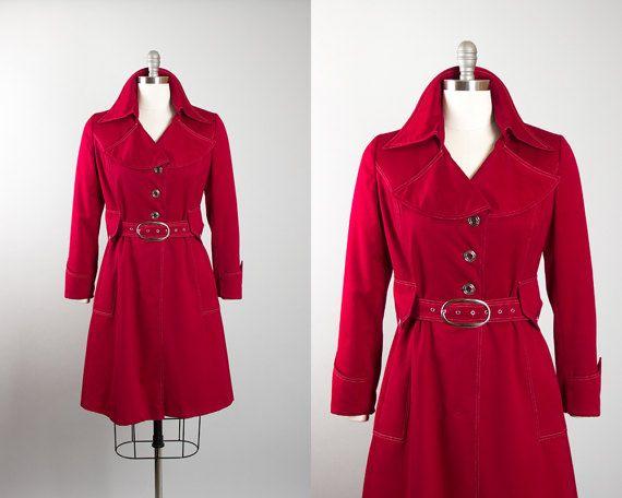 Vintage 1970s Trench Coat | 70s Red Gabardine Raincoat Lightweight Rain Jacket with Belt (medium/large) | Birthday Life Vintage on Etsy