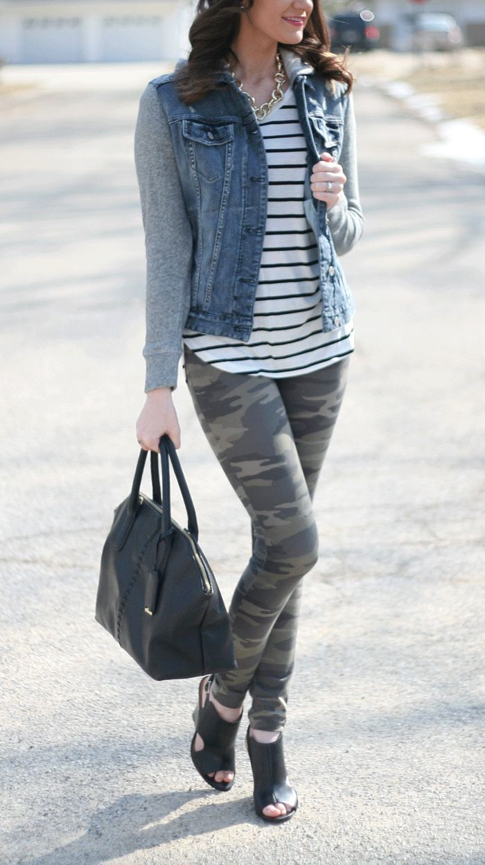 jean jacket, striped tee and camo leggings - www.lovelucygirl.com