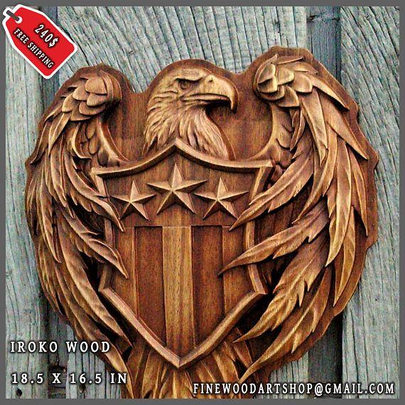 Bandera americana patriótica madera tallada muestra capa de