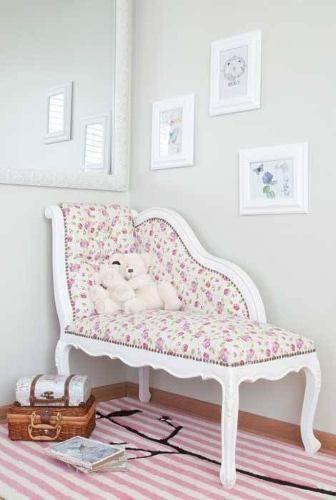 Chaise Longue de estilo provenzal para niñas, ideal para una salita de juegos o dormitorio
