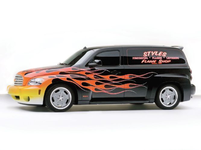 Check out this Chevy HHR custom paint job by Jeff Styles with custom painted flames, silver leafing, lettering, and pinstriping - Super Chevy Magazine