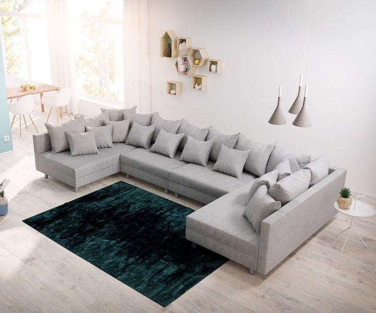 DELIFE Wohnlandschaft Clovis XL Grau Flachgewebe Modulsofa, Design  Wohnlandschaften, Couch Loft, Modulsofa,