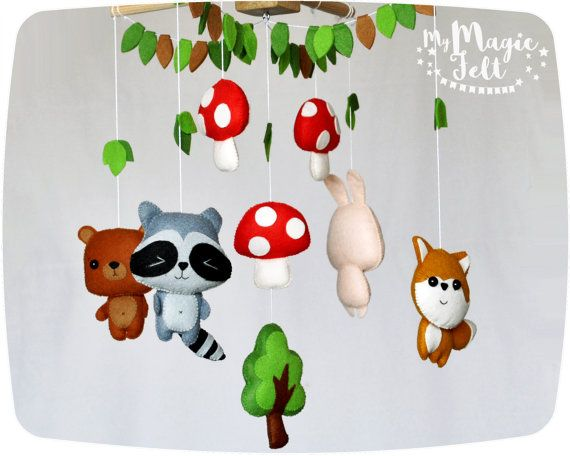Woodland baby mobile animals Nursery woodland decor Crib mobile animals Forest friends mobile Raccoon Bunny Bear Fox mobile