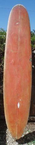 "Circa 1950's surfboard! Wood fin. 1"" stringer. Great board for décor! For more pix & info, visit our vintage surfboards for sale link: http://jacksj.wix.com/calstreetsurf"