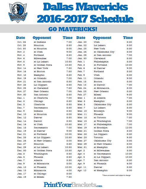 2016-2017 Dallas Mavericks Schedule