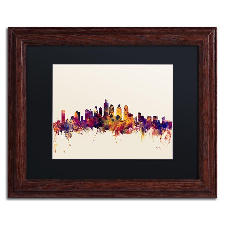 Philadelphia skyline iv framed graphic art print on