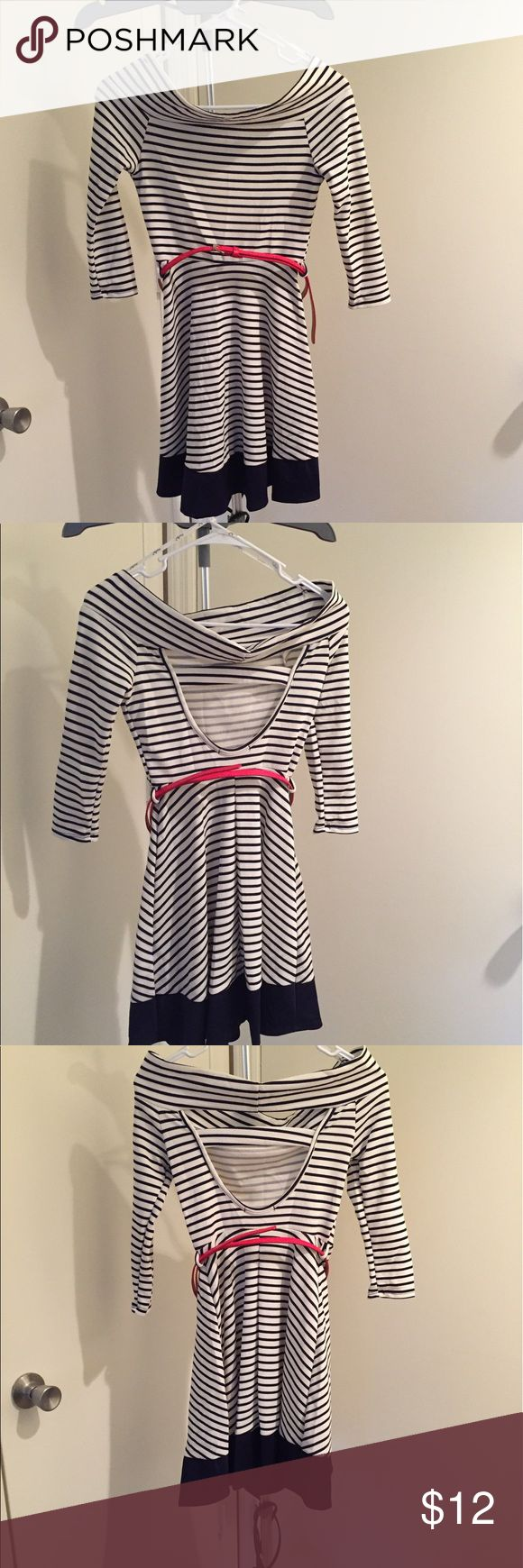 Off the should Blue and white dress with red belt This off the shoulder dress is beautiful and very flowy. Great for a nice evening out. Pair with some nice flats or some great high heels and your ready to go. Papaya Dresses