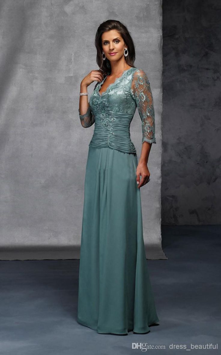 Wholesale Long Sleeve Prom Dresses - Buy 2014 NEW 3/4 Long Sleeves Lace Custom Made Dark Green V Neck Sheath Column Floor Length Mother of the Bride Dresses with Lace Beads WE2236, $79.62 | DHgate