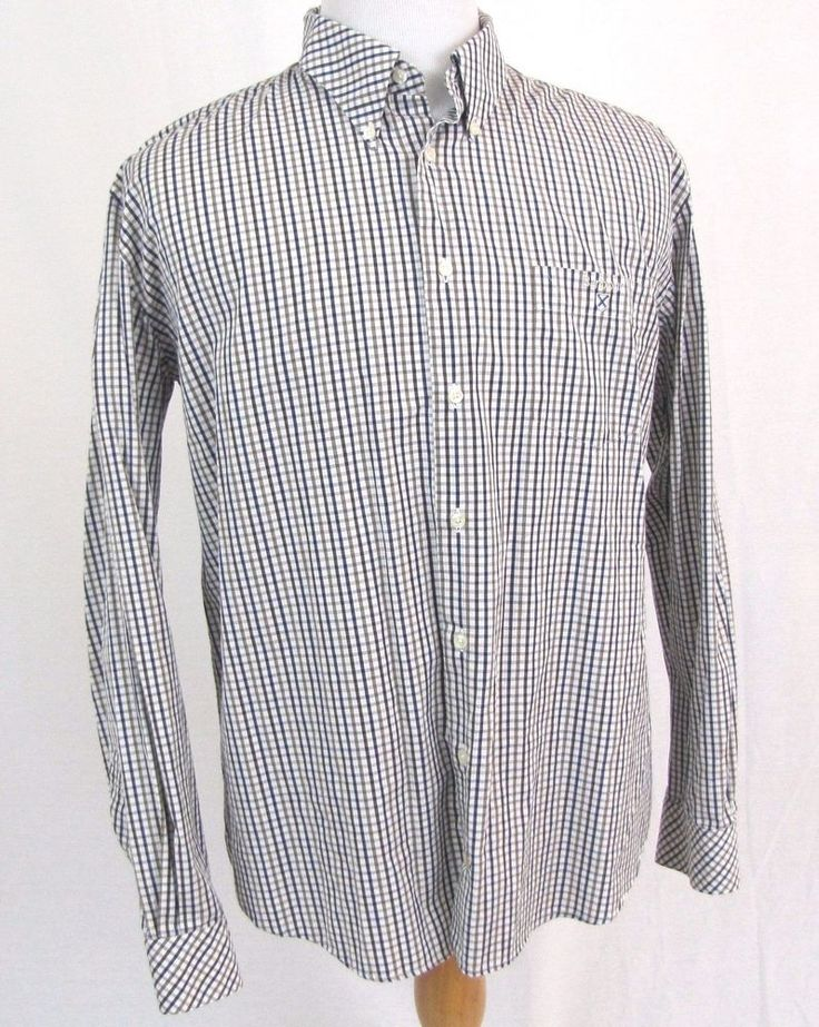 Barbour Shirt Large US Gingham Tattersall Plaid Embroidered Shield Button Collar #Barbour #ButtonFront
