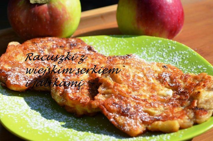Smak, zapach, kolor, tradycja z nutką nowoczesności...: Racuszki z serkiem wiejskim i jabłkami -pyszne rac...