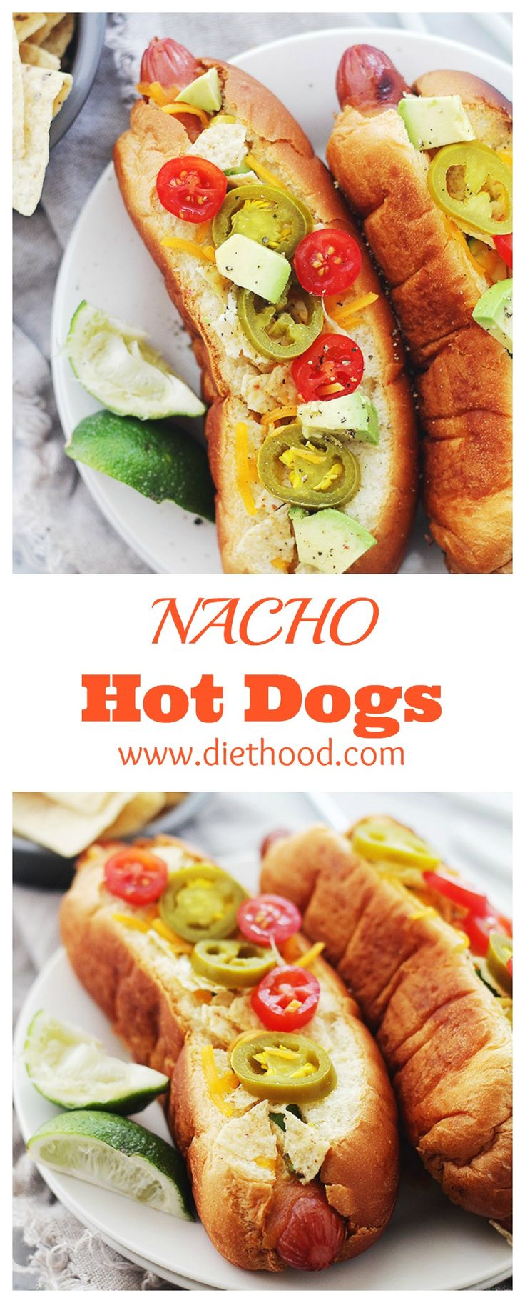 Nacho Hot Dogs: cheesy and crunchy Nacho Hot Dogs packed with tortilla chips, jalapenos, avocado, tomatoes, and sour cream! Next-level BBQ recipe right here.