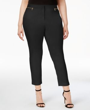 Sport a polished weekday look in a pair of chic plus size ankle pants from Calvin Klein. | Cotton/polyester/spandex | Machine washable | Imported | Mid rise: waistband sits below natural waist | Slim