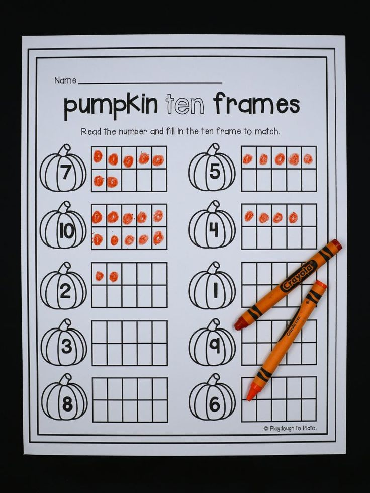 Awesome pumpkin ten frame activity for preschool or kindergarten. Fun math for fall or Halloween!