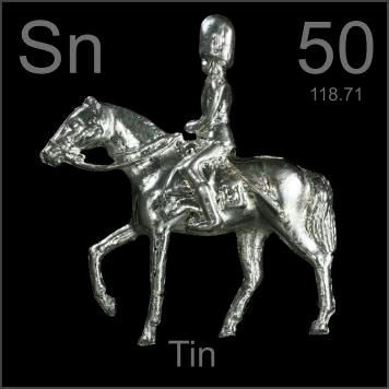50 Tin -Sn- A soft, shiny silver white metal that is protected from tarnishing by a thin oxide layer. Widely used to plate steel for canning.