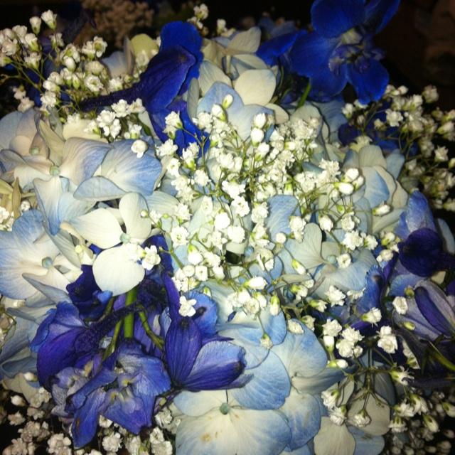 Dark Blue Flowers For Wedding Bouquets: Bridesmaid Bouquet With Light Blue Hydrangea, Dark Blue