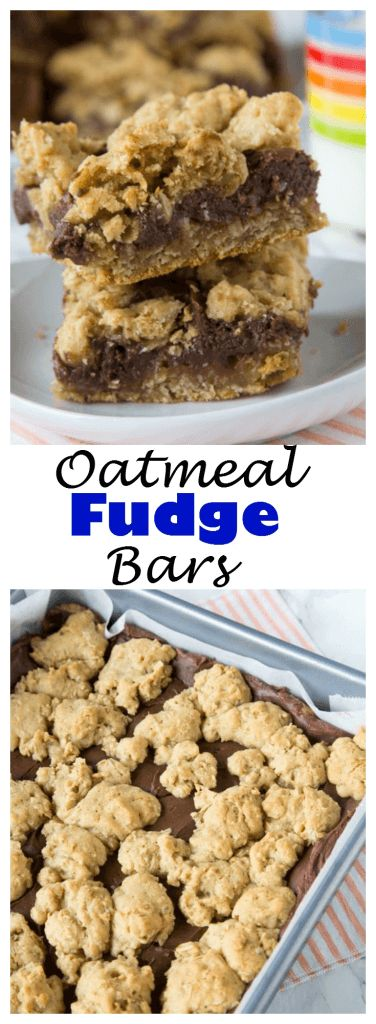 Oatmeal Fudge Bars - oatmeal cookie bars topped with a layer of rich chocolate fudge and then more oatmeal cookie.