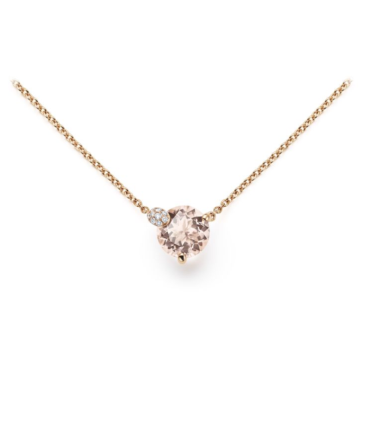 Necklace - 18K rose gold, morganite round cut total 1.8 ct., 10 diamonds brilliant cut total 0.04 ct  #Bucherer #Peekaboo #finejewellery