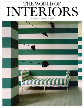 World of Interiors magazine cover, October 1996, green and white stripes, lamps, bed