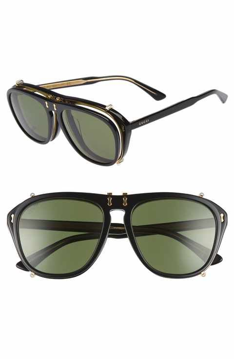 5196011668a Gucci 54mm Flip-Up Aviator Sunglasses