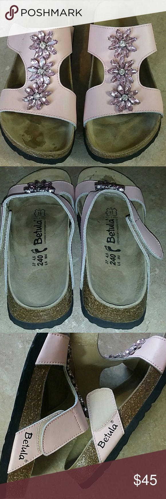 Birkenstock BETULA sandals Pink leather with rhinestone floral design. Velcro closure on the side. Used but like new. Please see photos. Im a size 7 but this fit just right! Size 6 USA. Birkenstock Shoes Sandals