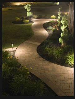 well-lit garden walkway by New York Plantings Irrigation and Landscape Lighting.  Contact:646-434-8049