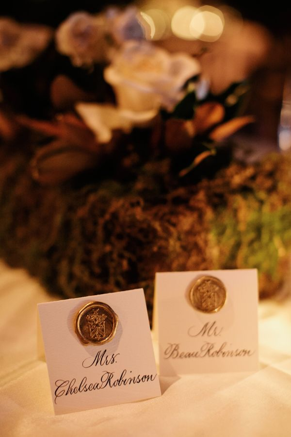 Wax Seal Family Crest Escort Cards   photography by http://www.kristynhogan.com/