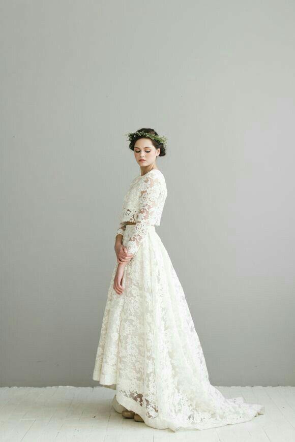 romantische kanten bruidsjurk