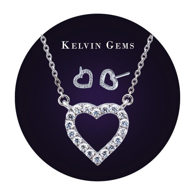 Valentine's Day Gift Set - Premium My Heart Stud Earrings Made With SWAROVSKI Zirconia in 18K White Gold Plated 925 Sterling Silver (Free Shipping Nationwide + Free Valentine's Gift Packaging + 1 Year Manufacturer Warranty for SWAROVSKI Zirconia + Free Polishing Service + 7 Days Exchange Period) #kelvingems #valentine2015