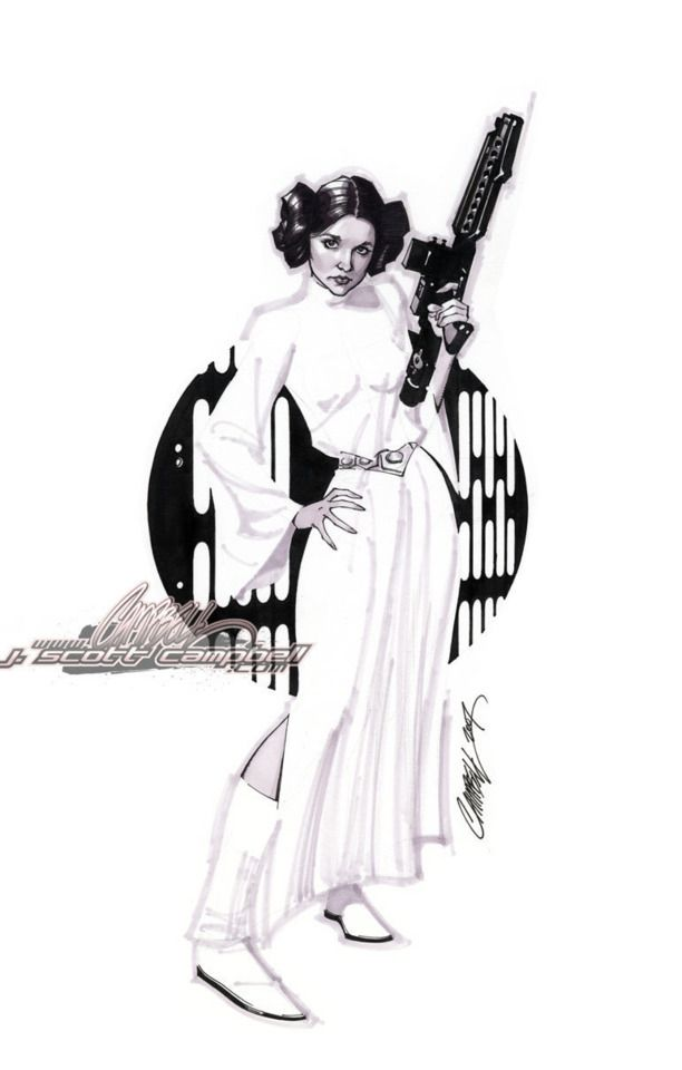 Princess Leia by J. Scott Campbell #comics #starwars #comicbooks