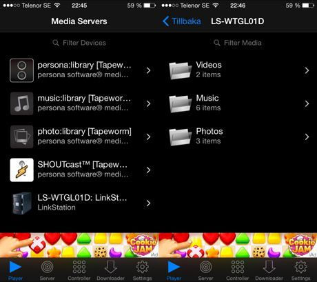 App för att strömma film via DLNA till iPhone