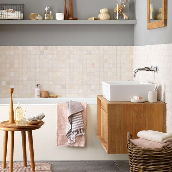 pretty pink tiles, grey wall + open shelf