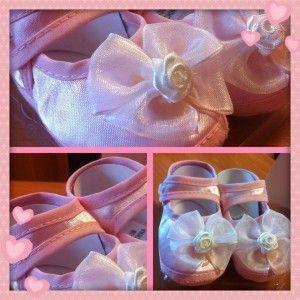 Scarpine con fiocco per neonato 03 mesi rosa